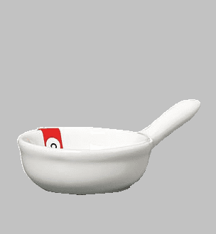 "BOWL W/HANDLE 3.75 X 2.25"" WHT / MIN 12 PCS TO SHIP"