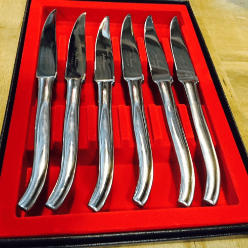 """Laguiole Steak Knives Micro Serrated by Beauvoir Large Model 9"""""""
