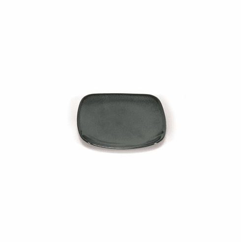 """Plate 5"""" Rounded sq. Iron Glaze"""