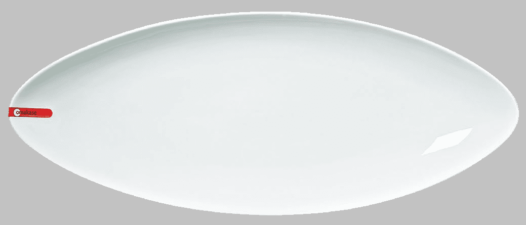 "PLATE OVAL 21 1/2 X 8 3/4"" WHITE / MIN 2 PCS TO SHIP"
