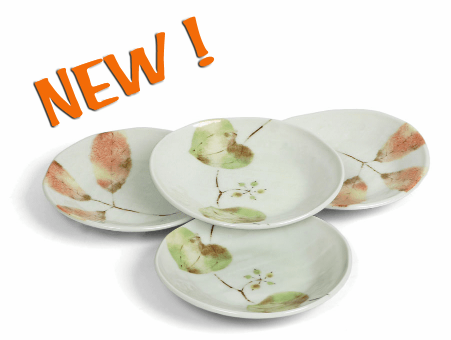 "Plate Set 4.75"" (4pcs) Asst Spring/Fall Leaves"