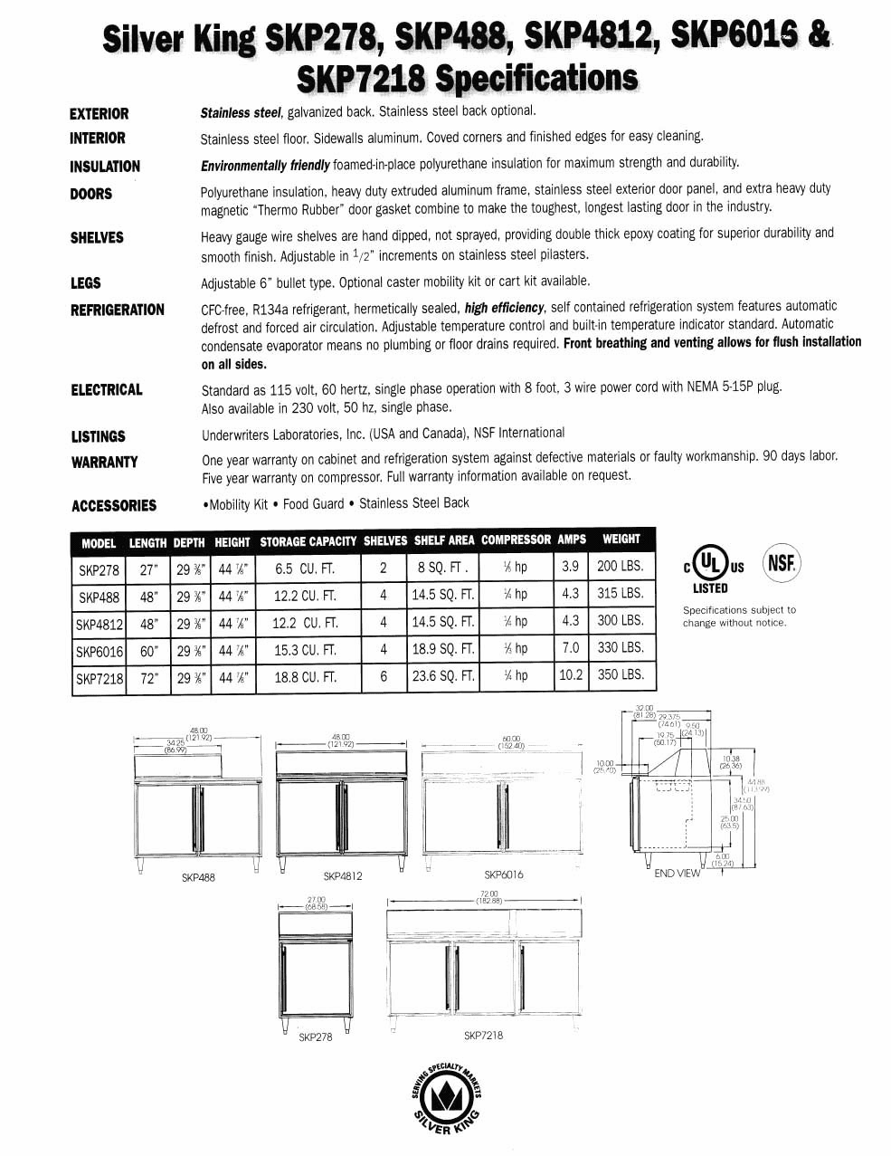 Specifications Refrigerated Prep Tables