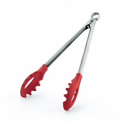 """TONGS W/TEETH 12"""" RED SILICONE"""