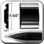 "1-1/4"" Wide Black-Chrome Body Side Molding Two 13' Strips, Trim Gard® # 1302"