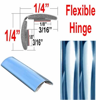 """1/2"""" Wide (split) Chrome Chrome Flexible Molding Sold by the Foot, Cowles® # 37-794"""
