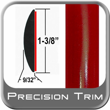 """1-3/8"""" Wide Absolute Red Molding Trim 3P0 ( CP16 ), Sold by the Foot, ColorTrim Plastics® # 60-16"""