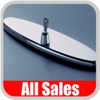 """1958-1972 Chevy Rear View Mirror 8"""" Long Oval Design Smooth Finish Style Brushed Aluminum Sold Individually All Sales #95872"""