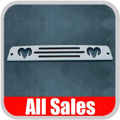 1994-2001 Dodge Ram Truck Third Brake Light Cover Brushed Aluminum Finish w/ RAM Head Cutout Sold Individually All Sales #44000
