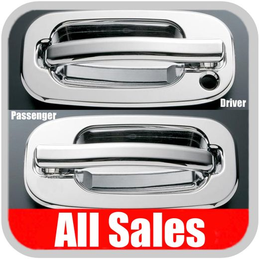 1999-2006 Chevy Tahoe Door Handle Levers & Buckets Driver & Passenger Sides w/Driver Side Lock Hole Only Chrome Finish 4-Pieces All Sales #901C