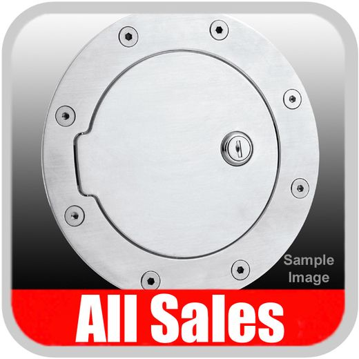1999-2006 GMC Yukon Fuel Door Locking Style Billet Aluminum, Brushed Aluminum Finish Sold Individually All Sales #6090L