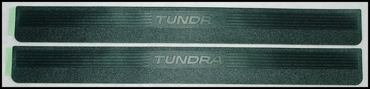 Toyota Tundra Door Sill Protectors 2001-2006 Black ABS Plastic w/ Tundra Logo, Regular Cab and Access Cab Front Pair Genuine Toyota #PT747-34010