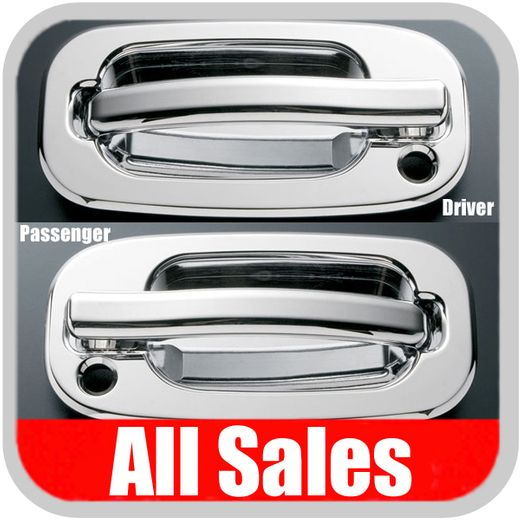 2002-2006 Cadillac Escalade Door Handle Levers & Buckets Driver & Passenger Sides w/Lock Holes Polished Aluminum 4-Pieces All Sales #900