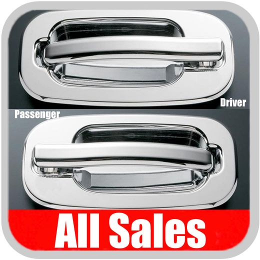 2002-2006 Cadillac Escalade Door Handle Levers & Buckets Driver & Passenger Sides w/No Lock Holes Chrome Finish 4-Pieces All Sales #902C