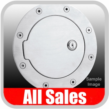 2005-2009 Ford Mustang Fuel Door Locking Style Billet Aluminum, Brushed Aluminum Finish Sold Individually All Sales #6055L