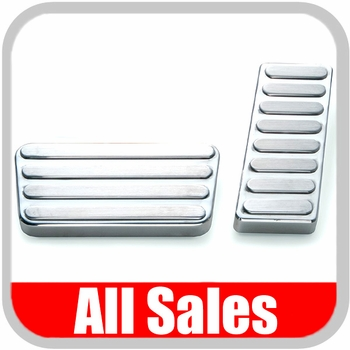 2007-2012 Jeep Wrangler Pedal Pads Polished Billet Aluminum Raised Line Design 2-piece Set All Sales #31L