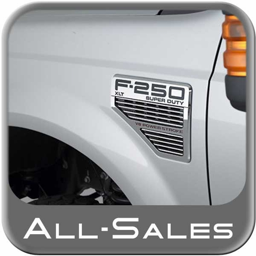 2008-2010 Ford F250 Truck Side Vents Grille Style Inserts Brushed Alumuinum & Black Set of 2 All Sales #5102