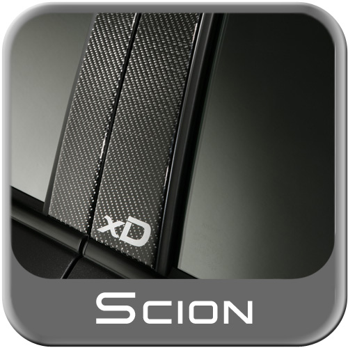 "Scion xD B-Pillar Trim 2008-2014 Carbon Fiber Applique w/Silver ""xD"" Logo 4-Piece Set Genuine Scion #PTS10-52072"