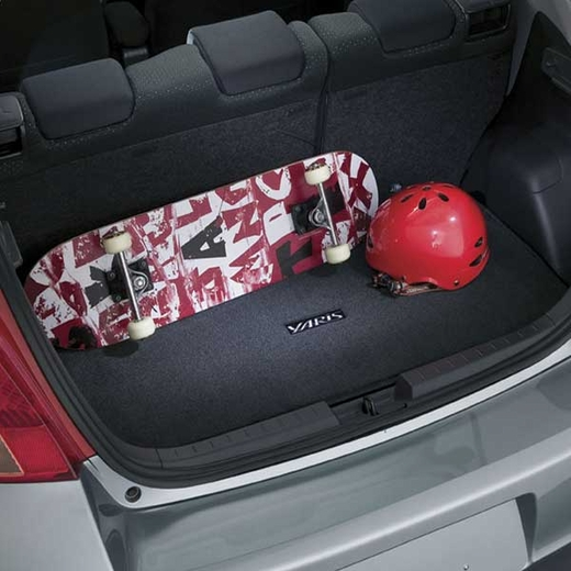 Toyota Yaris Trunk Mat 2010-2011 Carpeted w/ Logo Dark Charcoal Genuine Toyota #PT206-52104-11