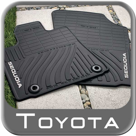 Toyota Sequoia Rubber Floor Mats 2012-2016 All-Weather Black 4-Piece Set Genuine Toyota #PT908-0C120-20