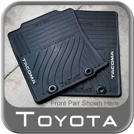 Toyota Tacoma Rubber Floor Mats 2012-2014 All-Weather Black 4-Piece Set Genuine Toyota #PT908-35126-20