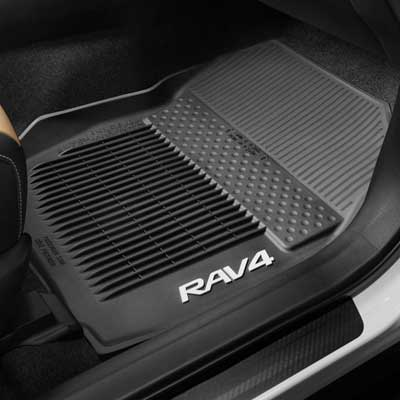Toyota RAV4 Rubber Floor Mats 2013-2018 All-Weather Black 3-Piece Set Genuine Toyota #PT908-42165-20