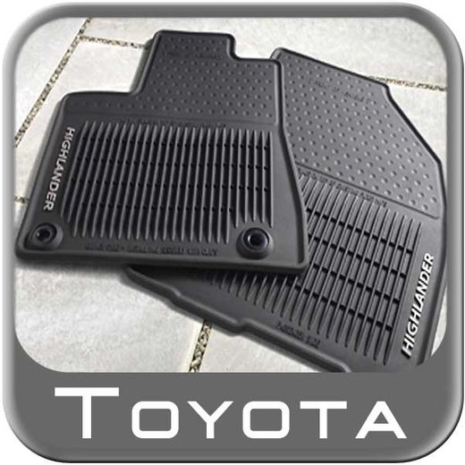 Toyota Highlander Rubber Floor Mats 2014-2017 All-Weather Black 3-Piece Set Genuine Toyota #PT908-48165-02