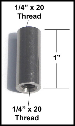 """All Sales Antenna Adapter For AMI Billet Antennas 1/4"""" x 20 Female x 1/4"""" x 20 Female Sold Individually #6200-1420FF"""