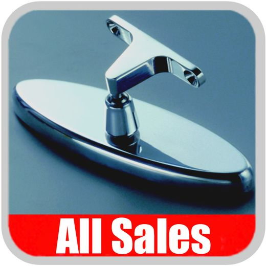 """All Sales Rear View Mirror 6"""" Long Oval Design Smooth Finish Style Brushed Aluminum Sold Individually #71001"""