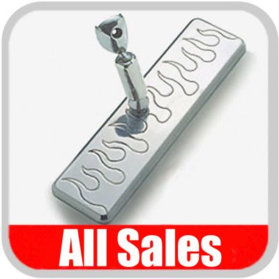 "All Sales Rear View Mirror 8"" Long Rectangular Design Engraved Flame Style Brushed Aluminum Sold Individually #27315"