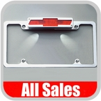 All Sales License Plate Frame Flat, Smooth Style Frame w/Back-lit Bow Tie 3rd Brake Light, w/Tag Lights Polished Aluminum Sold Individually #94002LPP