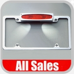 All Sales License Plate Frame Flat, Smooth Style Frame w/Back-lit Oval Style 3rd Brake Light, w/Tag Lights Polished Aluminum Sold Individually #97002LPP