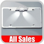 All Sales License Plate Frame Flat, Smooth Style Frame w/Bow Tie Tag Light Cover, w/Tag Lights Polished Aluminum Sold Individually #94000TLP