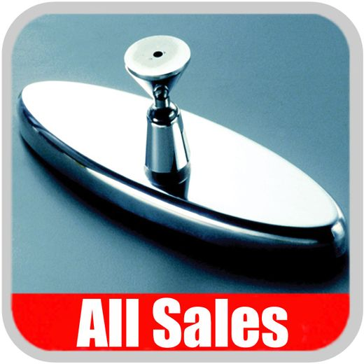 "All Sales Rear View Mirror 6"" Long Oval Design Smooth Finish Style Polished Aluminum Sold Individually #71000P"