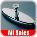 """All Sales Rear View Mirror 6"""" Long Oval Design Smooth Finish Style Brushed Aluminum Sold Individually #71000"""
