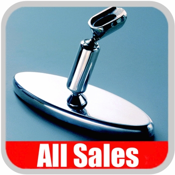 "All Sales Rear View Mirror 6"" Long Oval Design Smooth Finish Style Polished Aluminum Sold Individually #71005P"