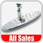 """All Sales Rear View Mirror 8"""" Long Oval Design Engraved Flame Style Brushed Aluminum Sold Individually #97315"""
