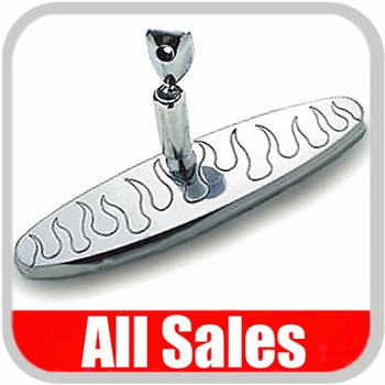 "All Sales Rear View Mirror 8"" Long Oval Design Engraved Flame Style Polished Aluminum Sold Individually #97315P"