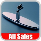 """All Sales Rear View Mirror 8"""" Long Oval Design Smooth Finish Style Brushed Aluminum Sold Individually #97394"""