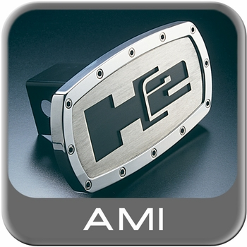 All Sales Trailer Hitch Cover H2 Hitch Cover Black H2 Logo w/Brushed Foreground Polished Aluminum Finish Sold Individually #1002