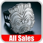 All Sales Trailer Hitch Cover Hula Hitch Cover Hula Theme w/Tiki Design Polished Aluminum Finish Sold Individually #1024