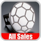 All Sales Trailer Hitch Cover Soccer Ball Hitch Cover Soccer Ball Design Polished Aluminum Finish Sold Individually #1030