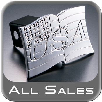 All Sales Trailer Hitch Cover USA Flag Hitch Cover USA Flag Design Polished Aluminum Finish Sold Individually #1009