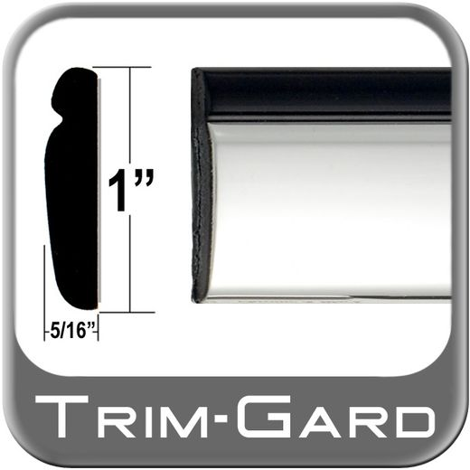 """1"""" Wide Black / Chrome Body Side Molding Sold by the Foot, Trim Gard® # PP02"""