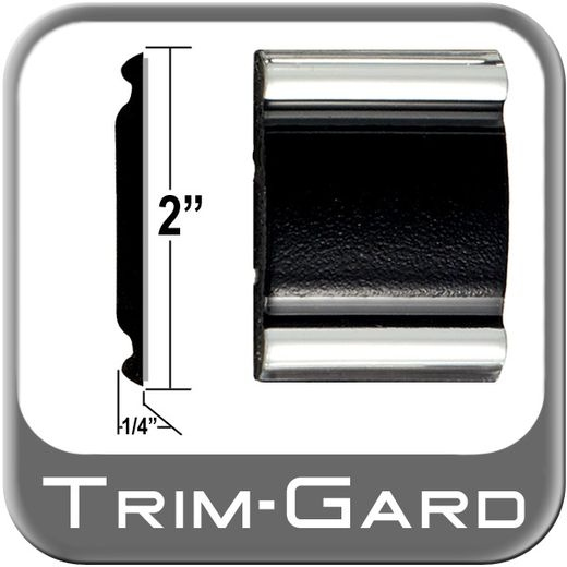 """2"""" Wide Black / Chrome Body Side Molding Sold by the Foot, Trim Gard® # 2002"""