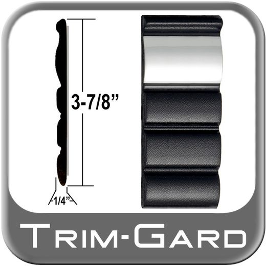 """3-7/8"""" Wide Black / Chrome Body Side Molding Sold by the Foot, Trim Gard® # 99CT-02"""