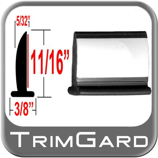 """T"" Style Black-Chrome Door Edge/Lip Trim Sold by the Foot, Trim Gard® # 92WC-01"
