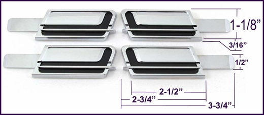 """1-1/8"""" Wide Black-Chrome Molding Tips Set of 4, Cowles® # 33-764-tip"""
