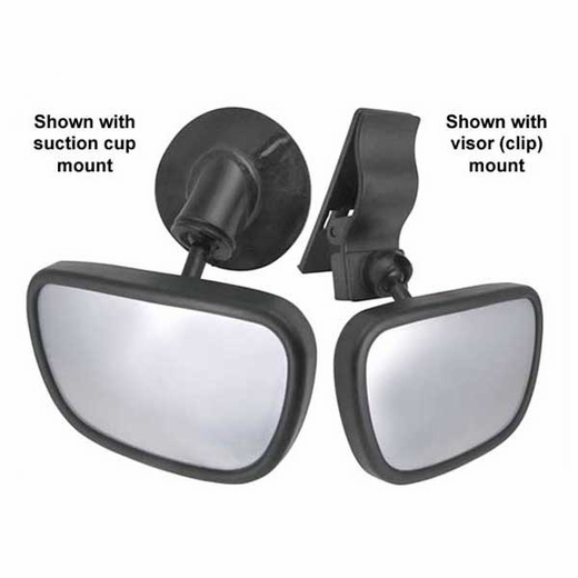 CIPA Baby Rear View Mirror Dual View Baby Mirror Black Frame Clip-on or Stick-on #49606