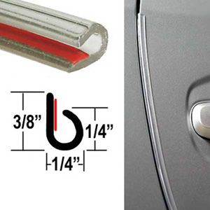 """""""J"""" Style Clear Door Edge Guard ( TG00 ), Sold by the Foot, Trim Gard® # NC00"""