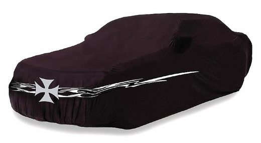 "CoverKing Iron Cross Car Cover Black Car Cover w/ Iron Cross & Flame Logo For Sedans up to 14' 2"" Long #SPC89"